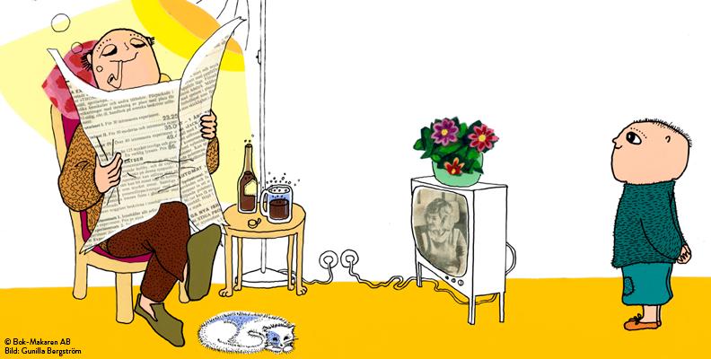 Alfons pappa läser tidning och röker pipa.