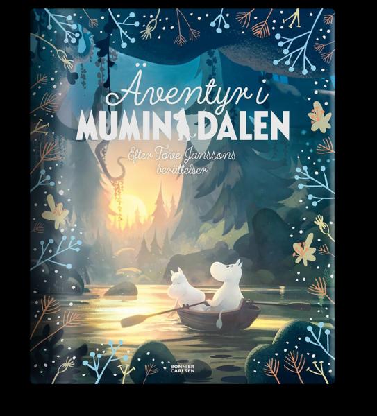 Bokomslag för Äventyr i Mumindalen. På bilden ser man Mumintrollet och Snorkfröken sitta i en båt.