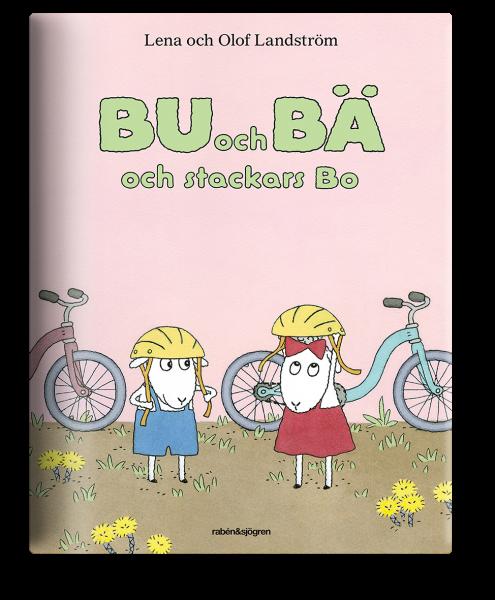 Bokomslag: fåren Bu och Bä sätter på sig cykelhjälmar och ska cykla.